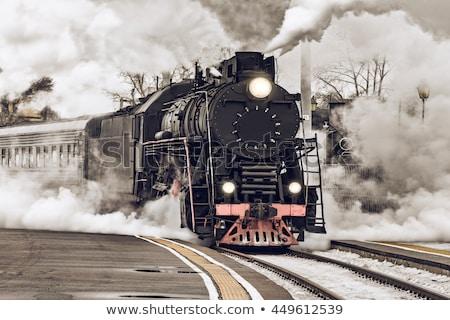 ストックフォト: 古い · レトロな · 蒸気 · 列車 · ヴィンテージ · 家