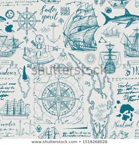 vektör · turizm · pusula · yalıtılmış · beyaz · harita - stok fotoğraf © loopall