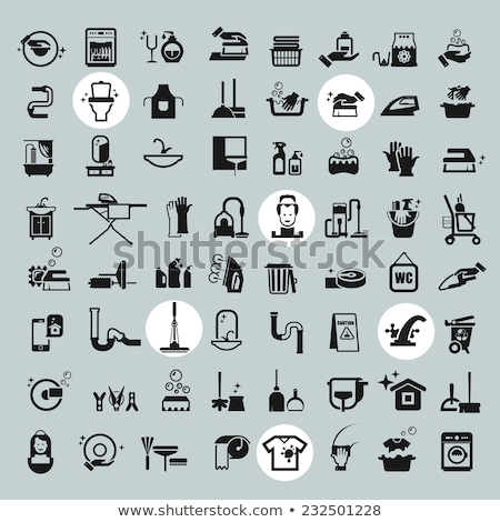 Vector graphic icon set of cleaning and housekeeping Stock photo © feabornset