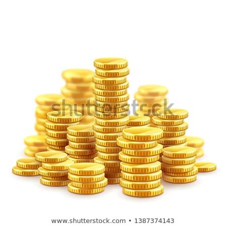 Foto stock: Moedas · de · ouro · numerário · dinheiro · colina · eps10 · isolado