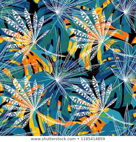 Vector seamless retro pattern, cannabis green leaf Stock photo © netkov1