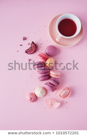 Colorful macaron cookies and cup of coffee Stock photo © karandaev