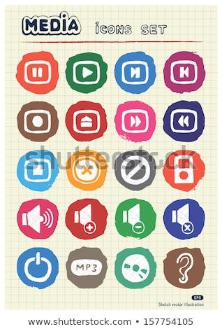 mp3-speler · schets · icon · web · mobiele · infographics - stockfoto © rastudio