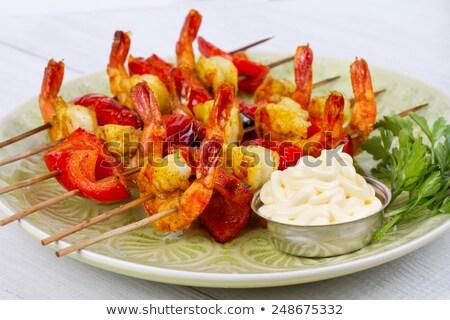 garnalen · drie · paprika · ui · ananas · Rood - stockfoto © rojoimages