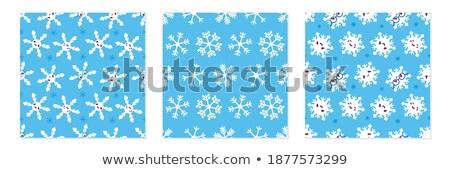 3 Snowflakes Seamless Background set stock photo © roverto