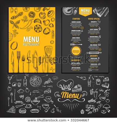 Menu voedsel kaart vector silhouetten bestek Stockfoto © ElaK