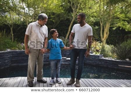 nagyapa · unoka · kezek · medence · víz · család - stock fotó © Paha_L