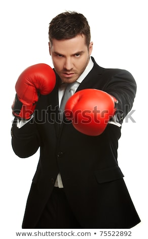 sport attractive man wearing boxing gloves on the white stock photo © vlad_star