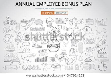 Foto stock: Empregado · bônus · beneficiar · plano · rabisco · projeto