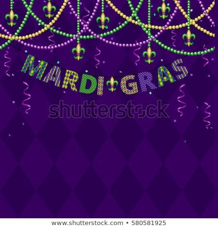 mardi gras bunting background with confetti stock photo © gladiolus