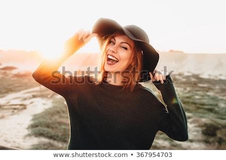 kobieta · żółty · okulary · piękna · młoda · kobieta · duży - zdjęcia stock © deandrobot
