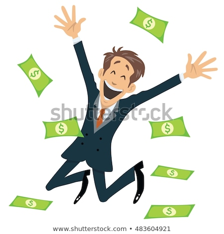 Successful Businessman Smiling And Jumping With Money Fly Away Stock photo © doddis