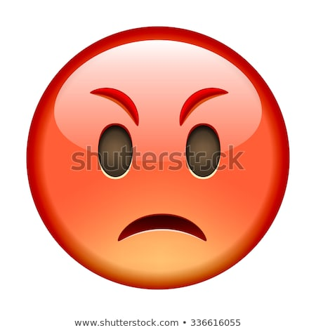 angry face emoji cartoon character isolated background stock photo © ikopylov