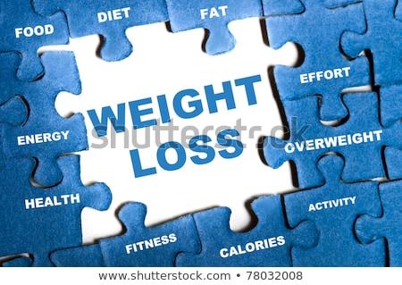 Puzzle Wort Gewichtsverlust Puzzleteile Bau Fitness Stock foto © fuzzbones0