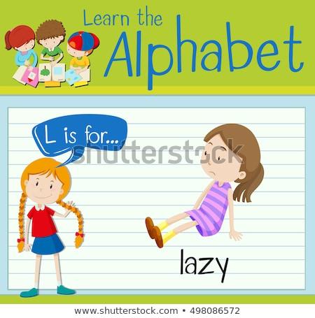 Lettera l pigro illustrazione ragazzi bambino sfondo Foto d'archivio © bluering