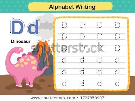 Mektup d dinozor örnek çocuklar çocuk arka plan Stok fotoğraf © bluering