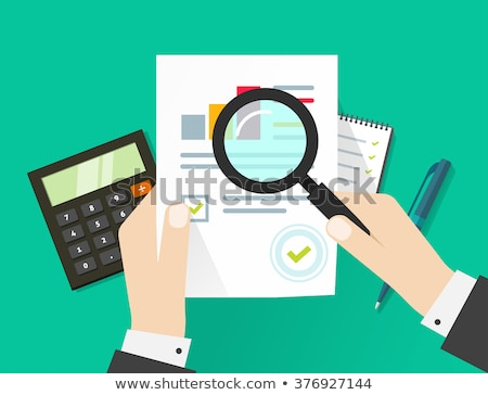 businessman hands with magnifier analysis paper sheet stock photo © kali