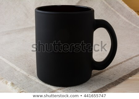 Stock photo: Black Coffee Mug Mockup On The Linen Napkin