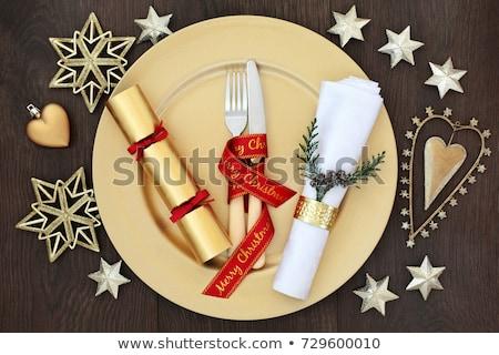 クリスマス フォーク 赤 プレート スタジオ ランチ ストックフォト © janssenkruseproducti