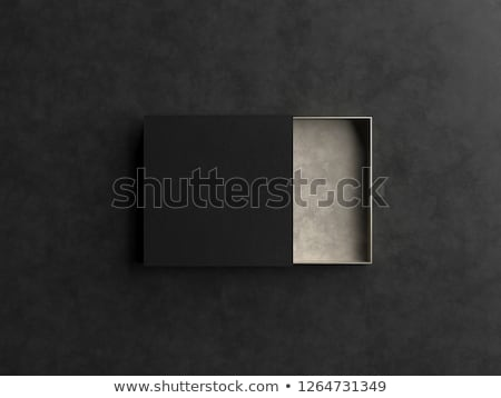 Black elegant Gift box with black blank gift card. 3D stock photo © djmilic
