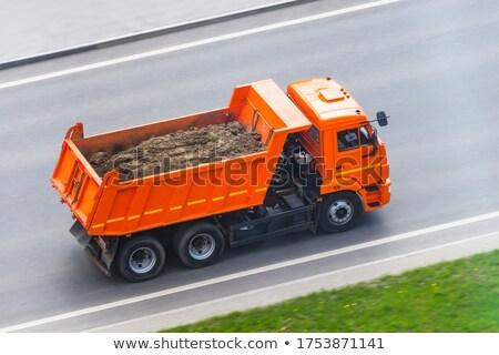 Buldózer teherautó mező illusztráció férfi tájkép Stock fotó © bluering