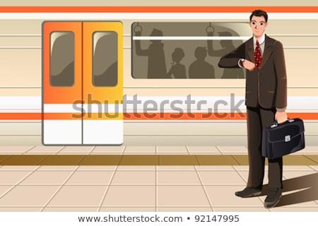 Bekleme adam karikatür çizim eps ofis Stok fotoğraf © sdCrea