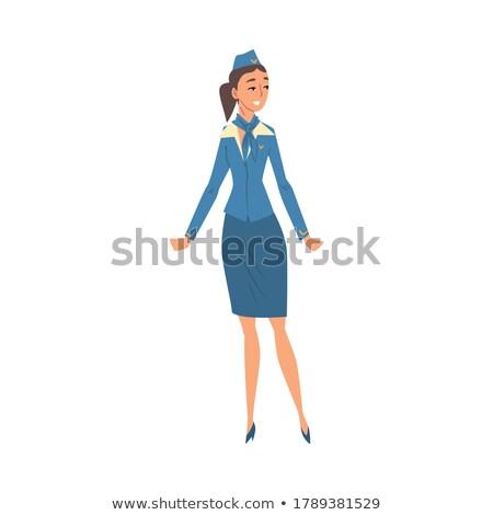 魅力的な · 小さな · スチュワーデス · 青 · ユニフォーム · 美しい - ストックフォト © maia3000