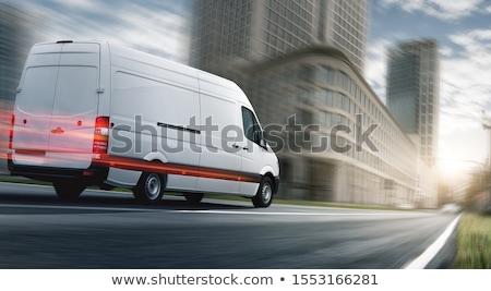 Hızlı nakliye kurye kamyonet vektör karikatür Stok fotoğraf © pcanzo