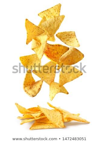 nachos · macro · tiro · agua · alimentos - foto stock © ca2hill