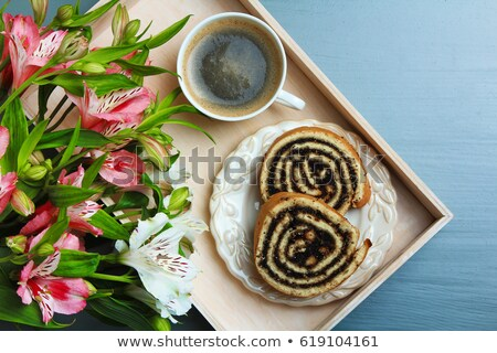 fatias · papoula · semente · rolar · branco · prato - foto stock © digifoodstock