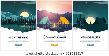 Nyári tábor este tábor fenyőfa erdő hegyek Stock fotó © Leo_Edition