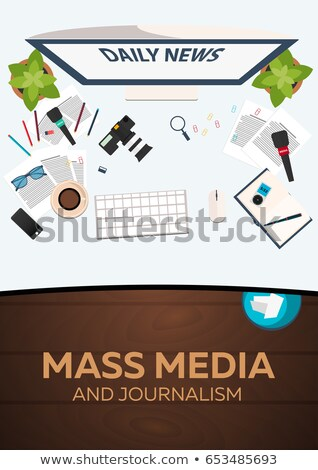 Massa media journalistiek werk plaats handen Stockfoto © Leo_Edition