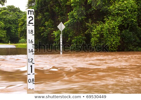 flooded road with depth indicators stock photo © jaykayl