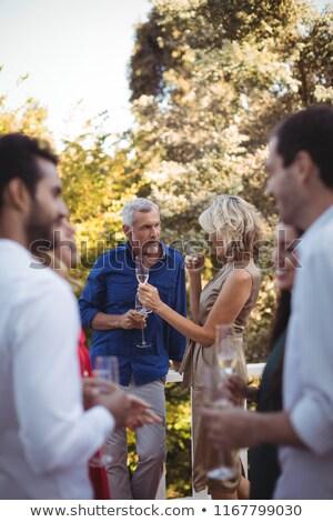 друзей шампанского балкона домой женщину любви Сток-фото © wavebreak_media