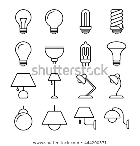 Stockfoto: Witte · bureau · lamp · energie · besparing · lamp