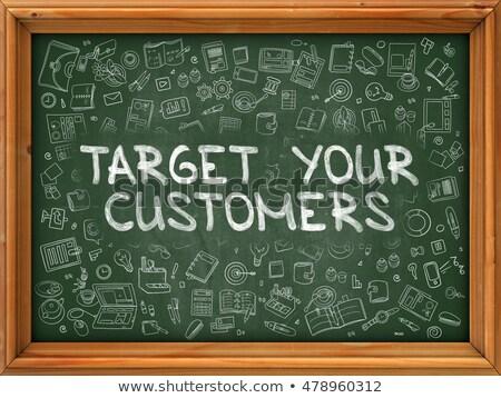 Vásárló célzás kézzel rajzolt zöld tábla modern Stock fotó © tashatuvango