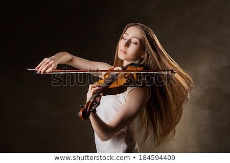 gyönyörű · fiatal · hölgy · játék · hegedű · boldog - stock fotó © julenochek