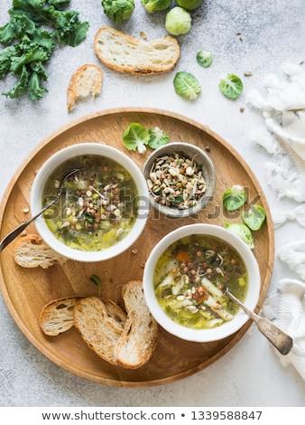 スープ · トースト · ボウル · 木製 · まな板 · 青 - ストックフォト © Digifoodstock