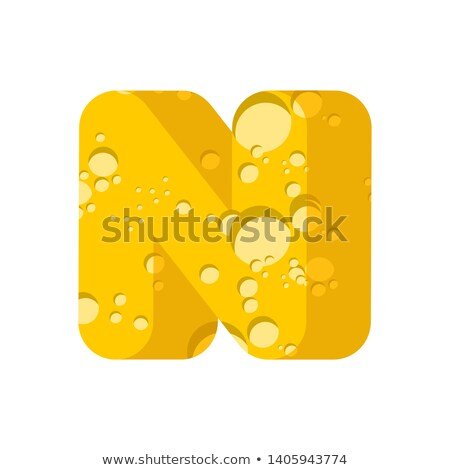 Letter N cheese font. Symbol of cheesy alphabet. Dairy Food type Stock photo © popaukropa
