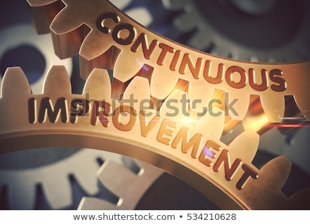 Process Improvement on Golden Metallic Cogwheels. Stock photo © tashatuvango