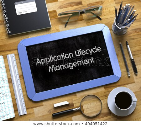 Small Chalkboard with Application Lifecycle Management. 3D. Stock photo © tashatuvango