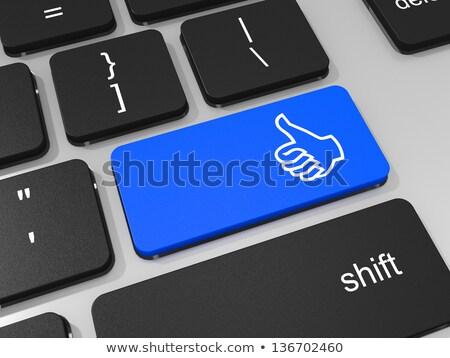 Hand Finger Press Social Network Keypad. 3D. Stock photo © tashatuvango