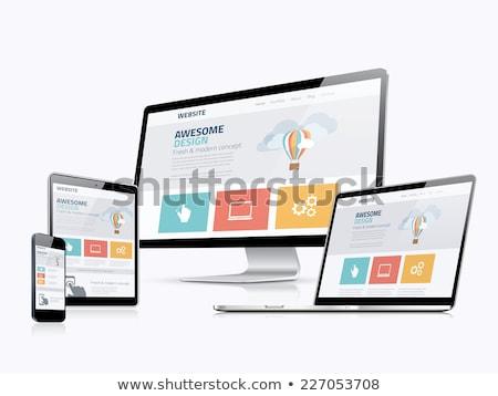 travail · conception · de · site · web · croquis · interface · terminé · portable - photo stock © tashatuvango