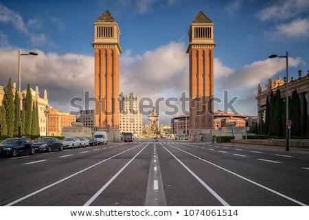 tér · Spanyolország · Barcelona · múzeum · szökőkút · nap - stock fotó © vapi