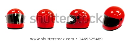 Motorcycle helmet red isolated. Racer helmet on white background Stock photo © popaukropa