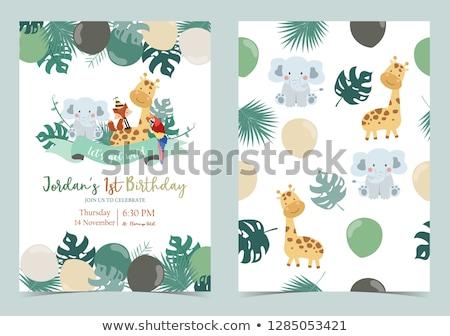 engraçado · desenho · animado · bebê · chuveiro · cartão · vetor - foto stock © balasoiu