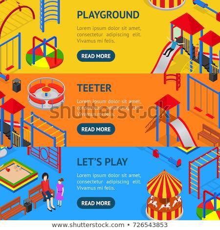 amusement park isometric horizontal flyers stock photo © studioworkstock