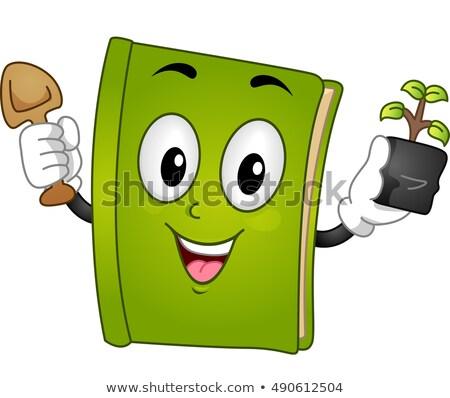 Mascot Book Garden Tool Sapling Stock photo © lenm