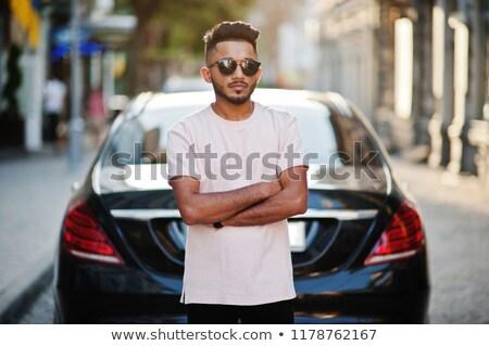 Portret stijlvol bebaarde man zonnebril jas Stockfoto © deandrobot