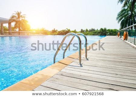 gelukkig · vrouw · beneden · waterglijbaan · vrouwen · hotel - stockfoto © givaga